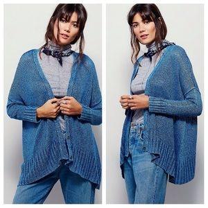 Free People Vee Vee Sheer Linen Cardigan Sweater